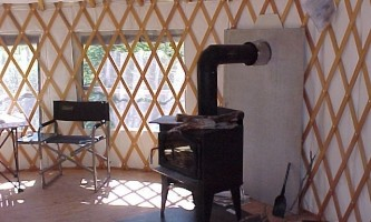 Interior view of yurt