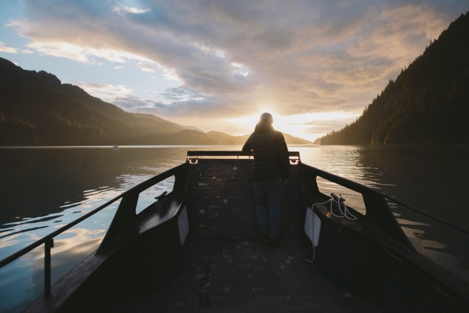 Man alone on boat in Homer Alaska