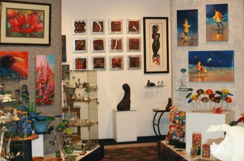Various art pieces displayed at Aurora Fine Art