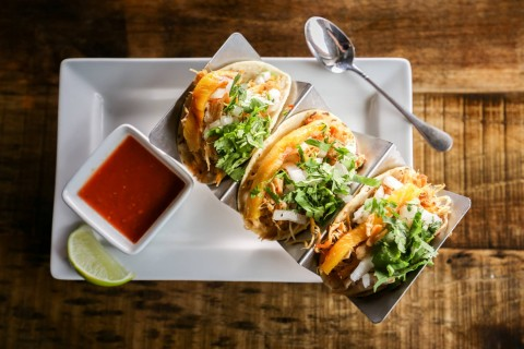 Plate of tacos from Tequila 61