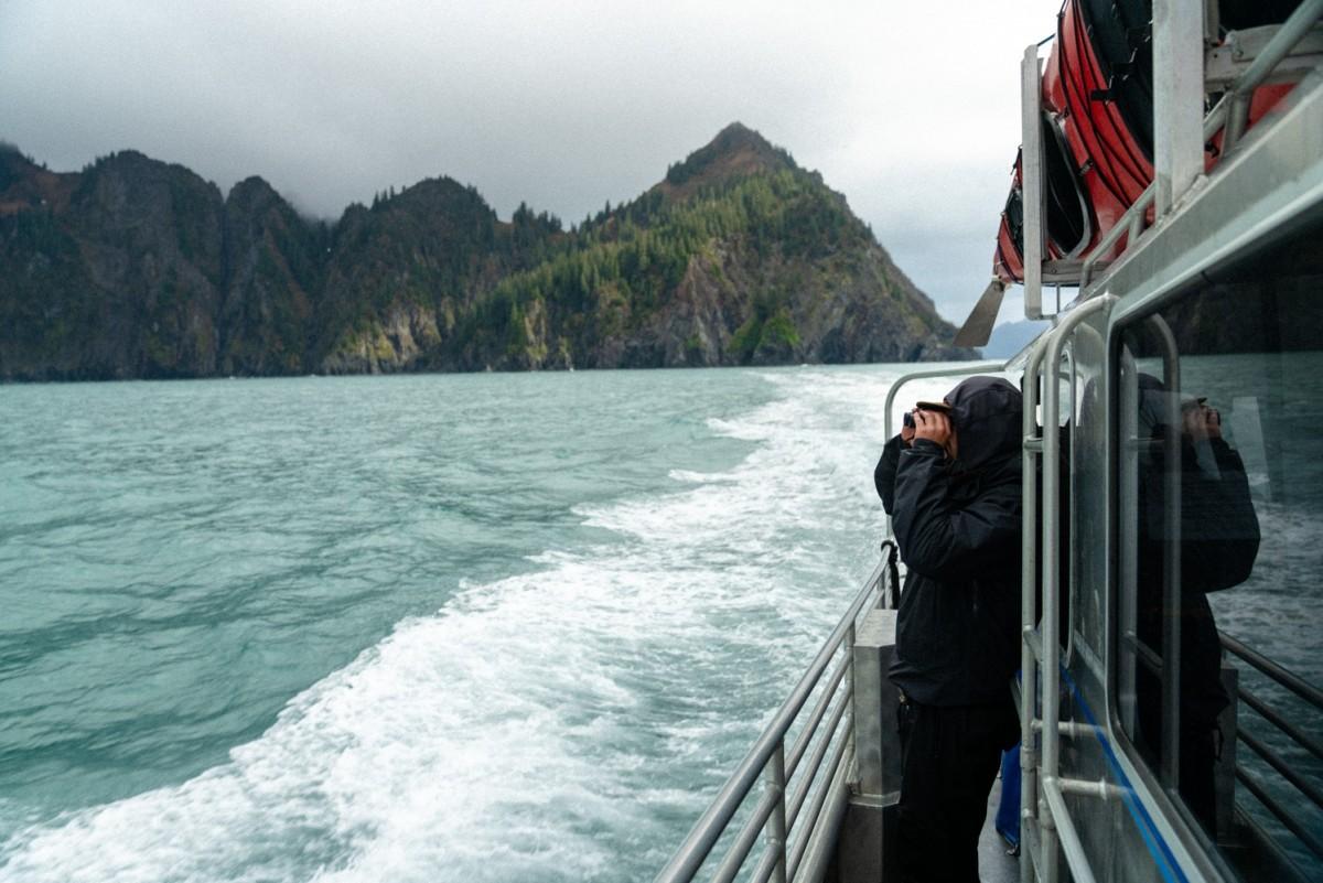 Boat cruising through Kenai Fjords National Park