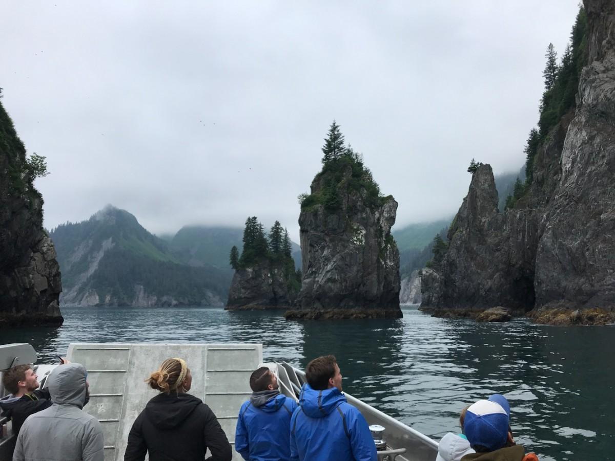 Guests look at Fjords in Kenai Fjords National Park