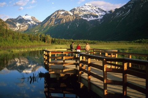 People on the salmon viewing deck at the Eagle River Nature Center on a summer day