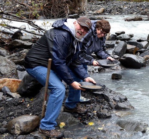 Pan for gold at the historic Crow Creek Mine.