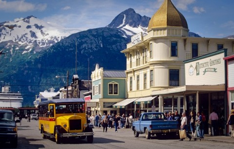 Main Street in Skagway lined with Gold Rush era buildings