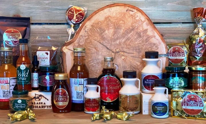 A collection of syrup, candy, and confections from Kahiltna Birchworks.