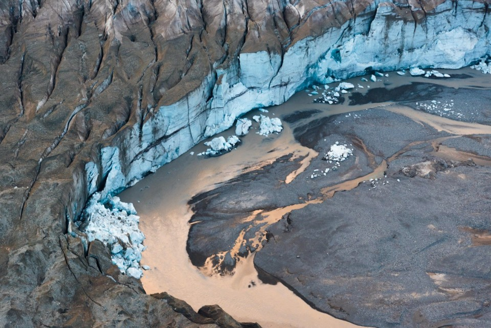 A glacier from above