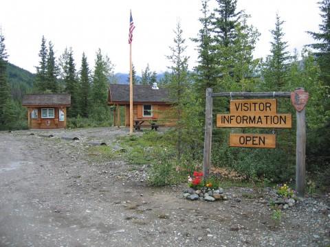 Outside the log cabin McCarthy Road Ranger Station