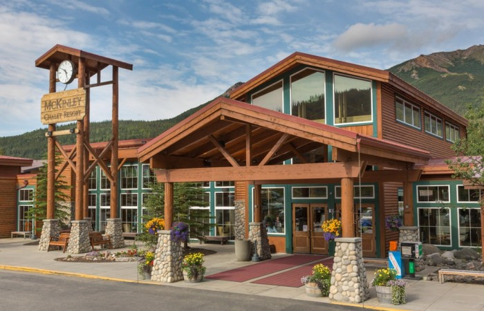 Denali state park hotels lodges Mc Kinley Chalet Resort Exterior Day Patrick J Endres www alaskaphotographics com