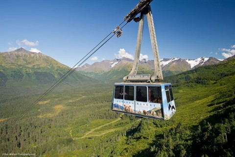 View breathtaking panoramic views of mountains from Girdwood Trams