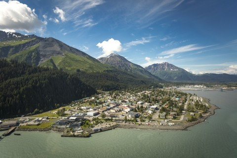 Stroll the waterfront trails of Seward with a magnificent mountain backdrop