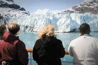 Inside Passage or Cross Gulf alaska cruise routes Passengers Margerie Glacier o1648m