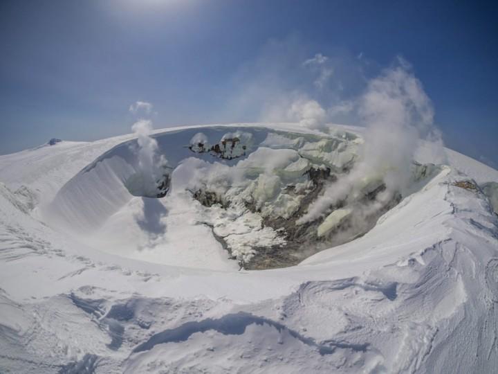 Makushin Volcano near Unalaska releases steam