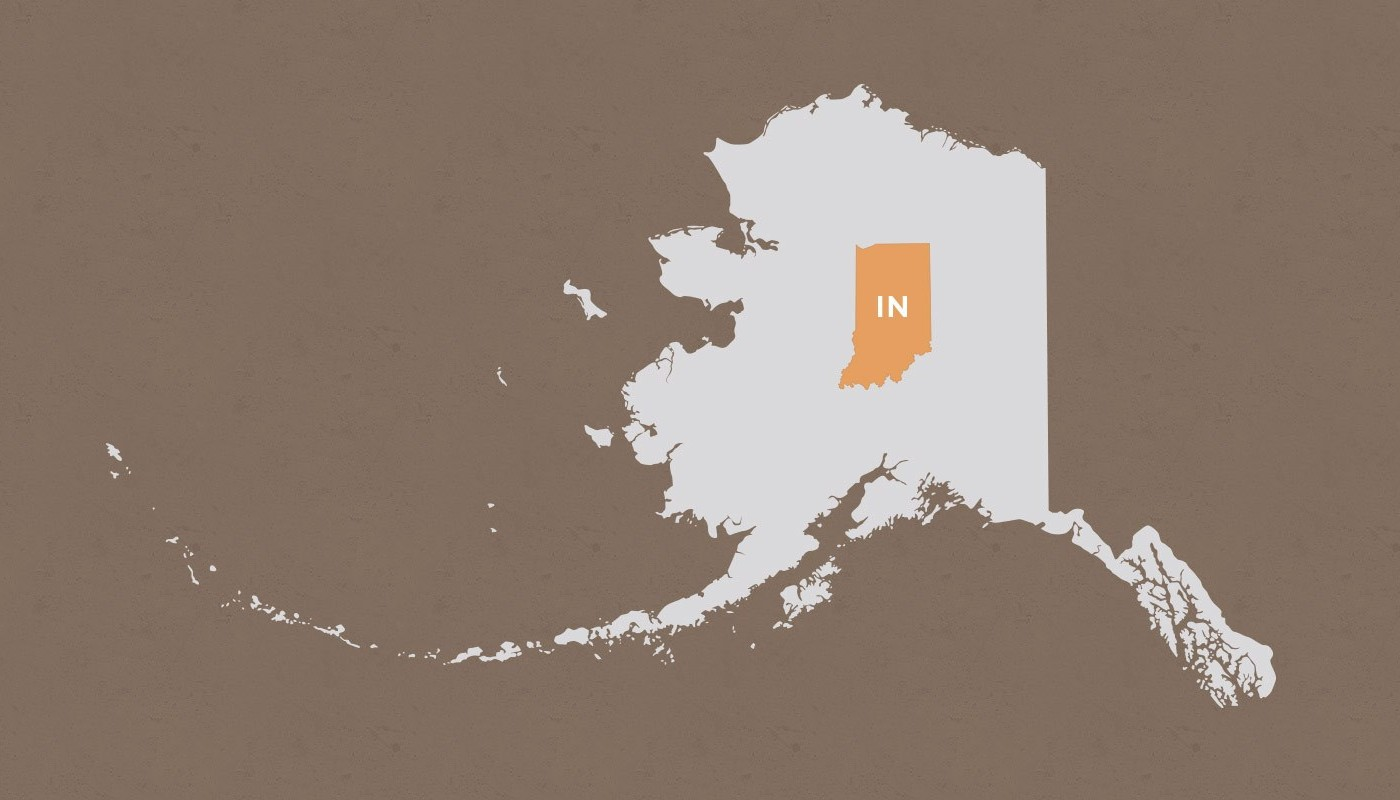 Indiana compared to Alaska