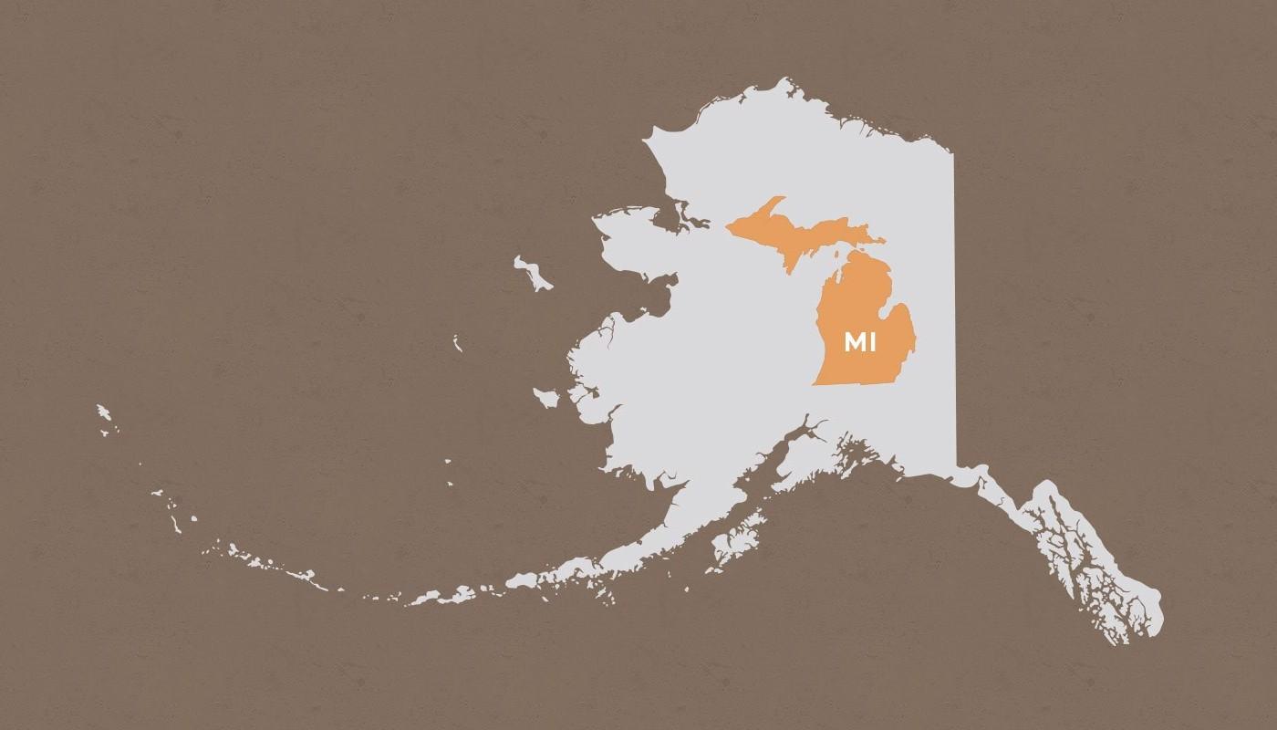Michigan compared to Alaska