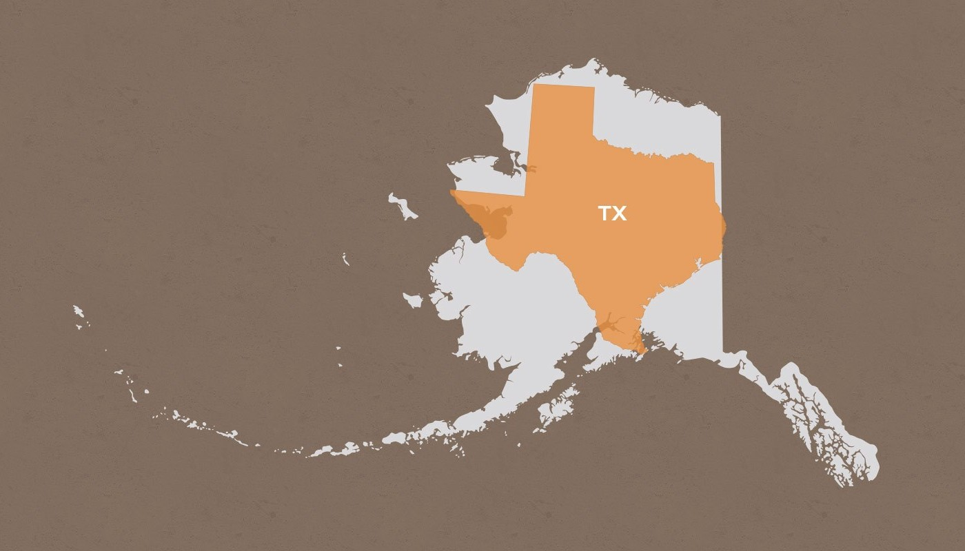 Texas compared to Alaska
