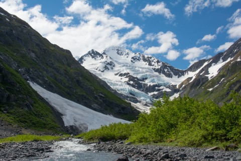Hike to Byron Glacier in the evening to search for ice worms