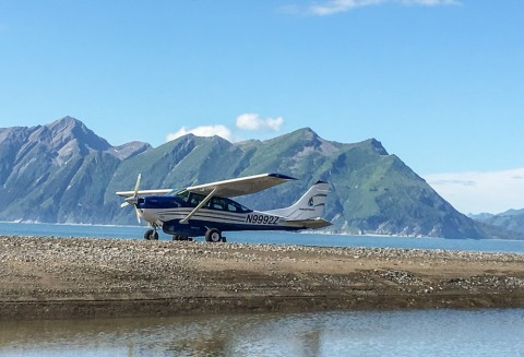 Airplane lands on remote beach in Alaska
