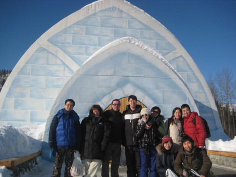 Visit the Ice Museum, made up of over 1000 tons of snow and ice