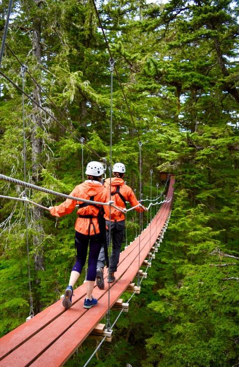 Two people in ziplining gear walk across a suspension bridge through the forest.