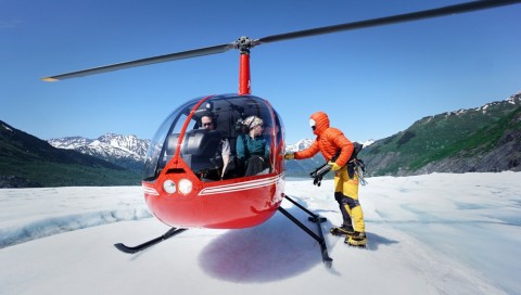 Guides will meet your helicopter on the glacier.