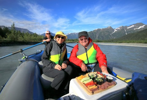 After exploring the glacier, enjoy a 7-mile raft trip through the mellow Class I and II waters of the Placer River.