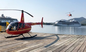 Helicopter Air Alaska 2 helis and cruise ship at dock2019