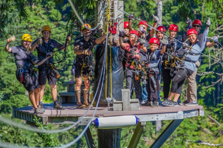 People in ziplining gear pose on a platform in a treetop at the start of a zipline run.