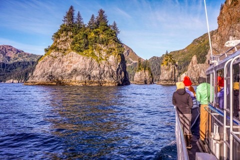 Enjoy a wildlife cruise from Seward on board Liquid Adventure's intimate, custom-built vessel. Then launch kayaks directly from the boat to explore.
