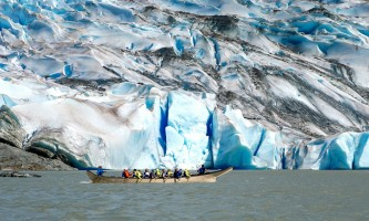 2021 Mendenhall Glacier Ice Adventure Tour Jason glacier terminus canoeing