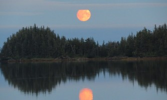 Alaska whittier North Pacific Expeditions Shoestring Cove Moonrise panorama with cloud bar north pacific expeditions