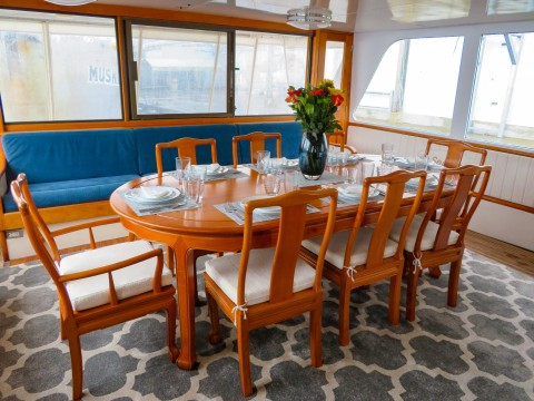A set dinning table in a boat.