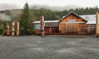 Rainforest sanctuary wildlife eagle center entrance to carving center sawmill