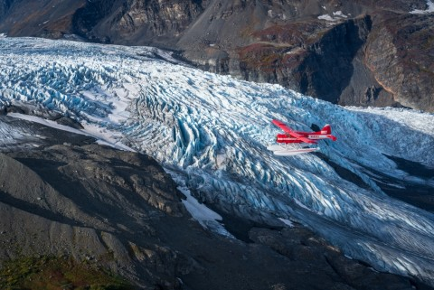 Rust's flies over a glacier in Prince William Sound