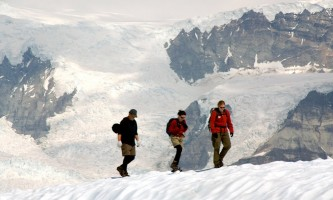 St elias alpine guides Hikers on Glacier Copyright 2007 Steve Crum Late Sky Images All rights reserved