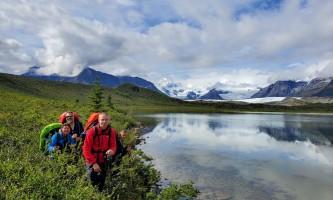 St elias alpine guides Hiking by Alaskan Alpine Lake