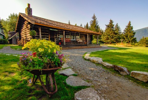 Outside view of the rustic cabin style Take Glacier Lodge.