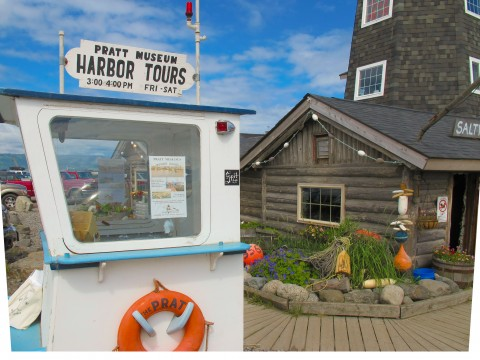 Outdoor kiosk for Pratt Museum walking tours in Homer.