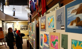 Sitka whalefest alaska The marine themed children art fro local school hanging up in the hallway for everyone to enjoy Tim Shobe whale fest
