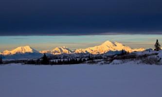 Caribou lodge Alaska range after snow storm