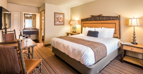 Inside of a bright and inviting guest room at Denali Princess Wilderness Lodge.