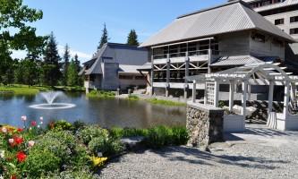 Hotel Pond Courtyard withtulips alaska hotel alyeska girdwood
