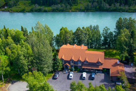 Birds eye view of Soldotna B&B and the Kenai River.