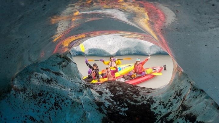 Anadyr Adventures watches the glacier closely and runs trips on Valdez Glacier Lake daily, from roughly June through September. You'll paddle around the icebergs that have calved from the glacier.