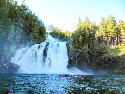 Cascade Falls is a powerful two-step fall which drops 171 feet into Eaglek Bay in the northern part of Prince William Sound