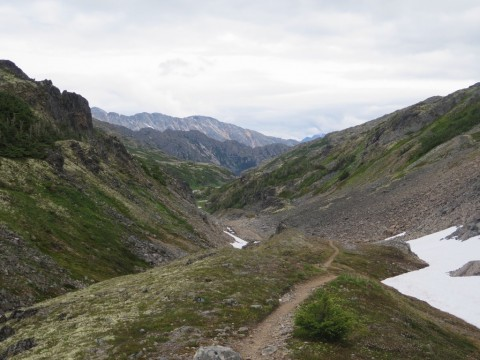 Descending into Canada from Chilkoot Pass