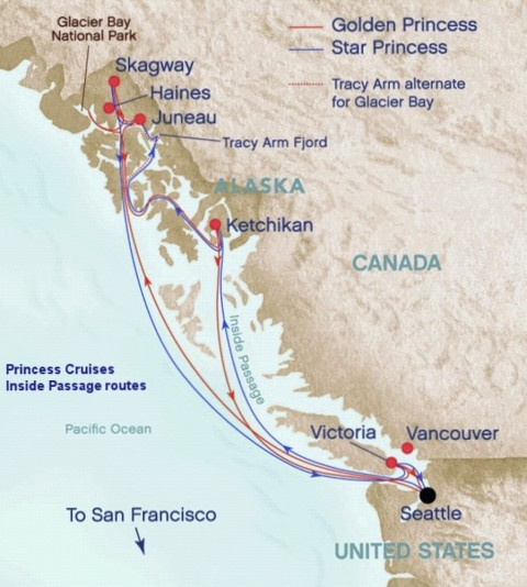 Alaska Inside Passage Cruise Route Map