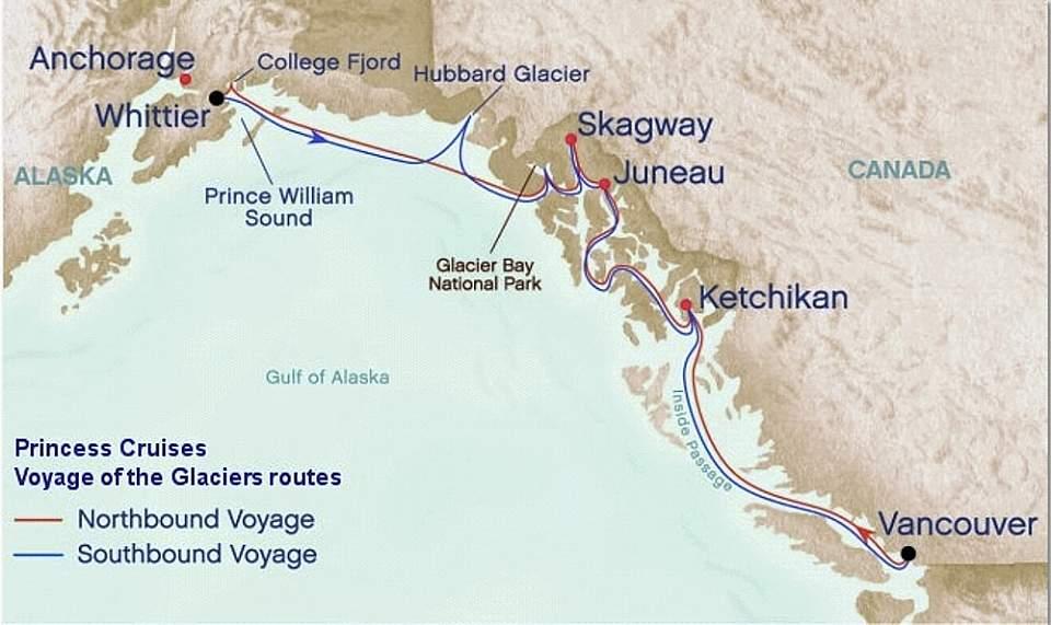 Alaska Cross Gulf of Alaska Route Map