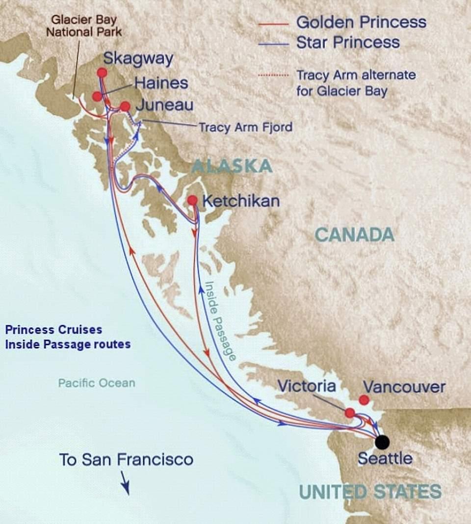 Alaska Inside Passage Cruise Route Map