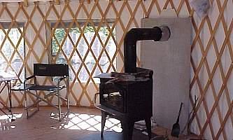 Interior view of yurt